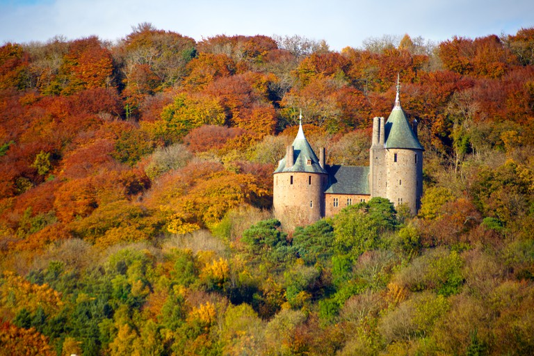 Castell Coch,  (Castle Coch) Wales, overlooking the River Taff in Autumn.. Image shot 10/2010. Exact date unknown.