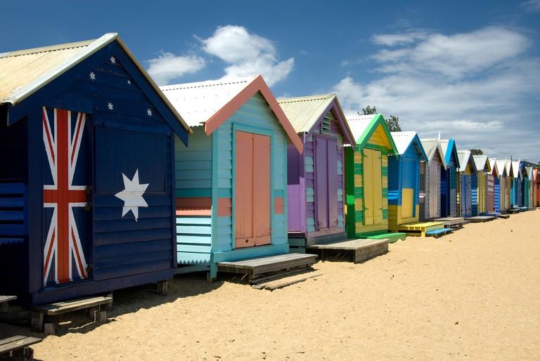 Colourful Beach Huts on Brighton Beach, Victoria, Australia