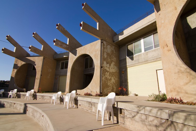 Arcosanti, an experimental town in the desert of Arizona, built to embody Paolo Soleri's concept of arcology.