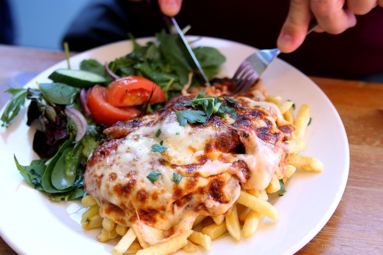 Chicken Parmigiana with Fresh salad and chips