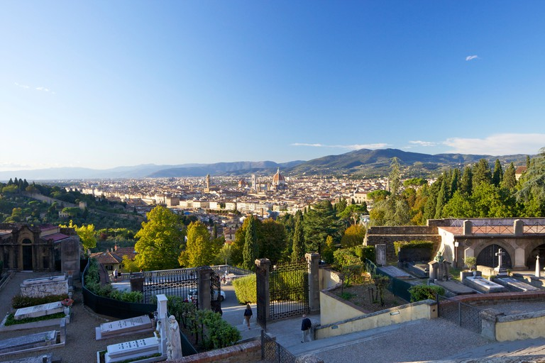 View from steps of San Miniato al Monte church, Florence, Tuscany, Italy, Europe