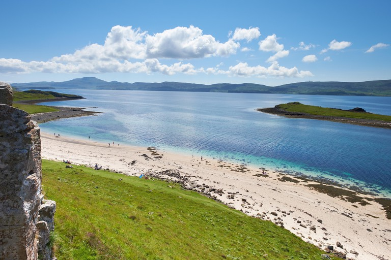 The Coral Beaches on the shores of Loch Dunvegan near Claigan with the island of Lampay just offshore.