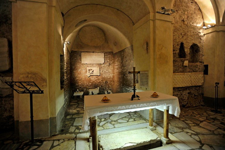 Crypt of St. Sebastian in the Catacombs of San Sebastiano, Via Appia Antica, Rome, Lazio, Italy, Europe