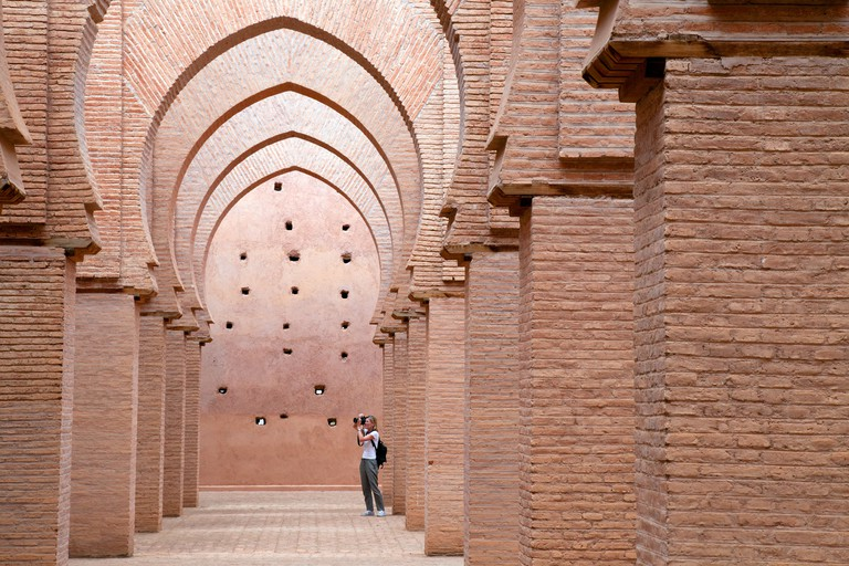 Tourists at the 12th century Tin Mal mosque, High Atlas region, Morocco Africa