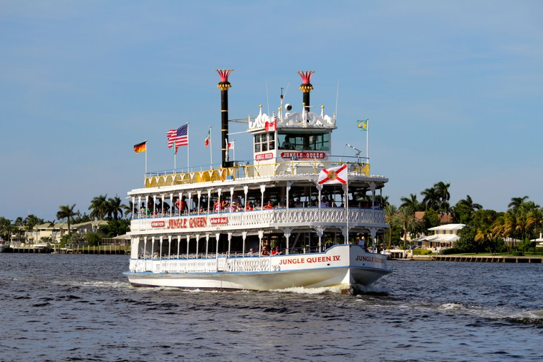 Florida, FL, South, Broward, Ft. Fort Lauderdale, Intracoastal Waterway, Jungle Queen, replica riverboat, boat, water, Lake Mabel, sightseeing visitor