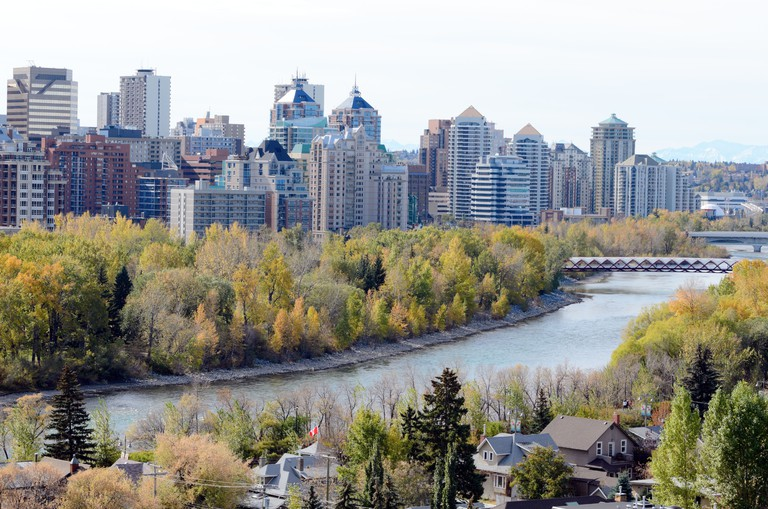 Calgary, Canada - October 7th, 2012: View of Calgary from McHugh Bluff Park Alberta Canada