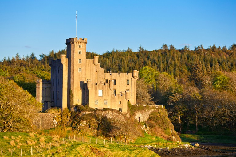 Dunvegan Castle exterior and gardens Isle of Skye Highlands and Islands Scotland UK GB EU Europe