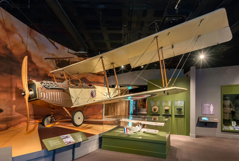 Curtiss Jenny JN4-D airplane replica at Glenbow Museum in Calgary, Alberta, Canada