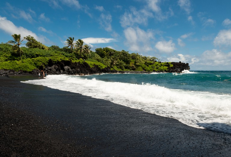 Black sand beach at Wainapanapa State Park, Maui