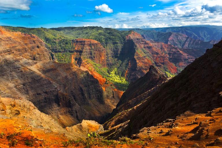 Colorful rock detail Waimea Canyon Kauai, Hawaii