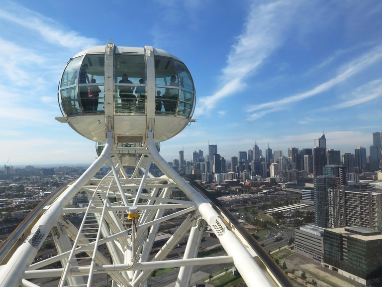View of a cabin on the Melbourne Star Observation Wheel, Melbourne and Melbourne CBD