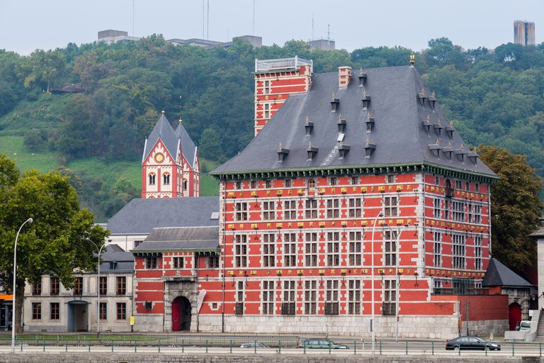 The Grand Curtius museum of archeology and decorative arts (Musee Curtius) on banks of Meuse river in Liege, Wallonia, Belgium