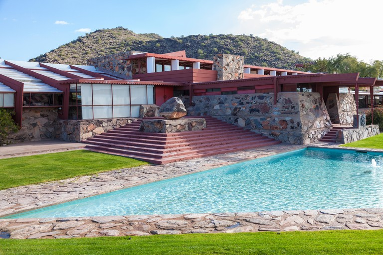 Frank Lloyd Wright's Taliesin West compound in the desert of northern Arizona