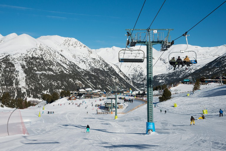 A view from the piste above El Tarter, Grandvalaria ski area, Andorra, Europe