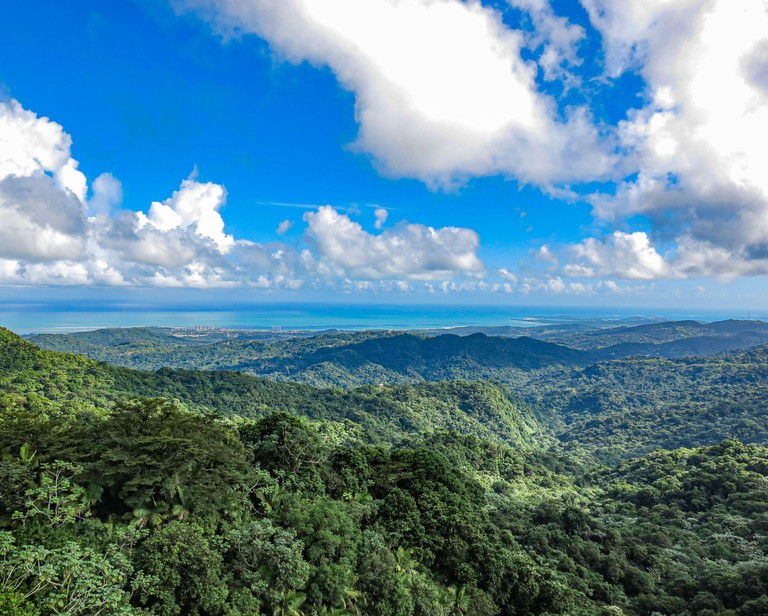 A beautiful aerial view of El Yunque National Rainforest in Puerto Rico.