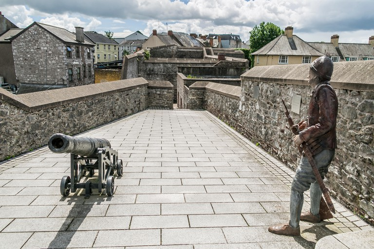 Statue of sentry and canon, Elizabeth Fort, Cork, Ireland
