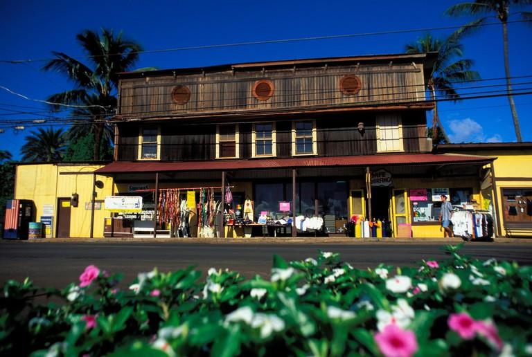 Hawaii, Oahu, Haleiwa, Surf & Sea Shop, Flowers In Foreground.