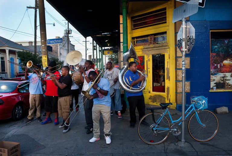 Local musicians playing in the street corner of Frenchmen Street