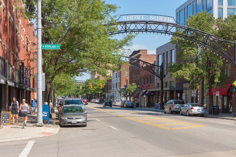 A summer view of the Short North neighborhood on N. High Street in Columbus, Ohio.