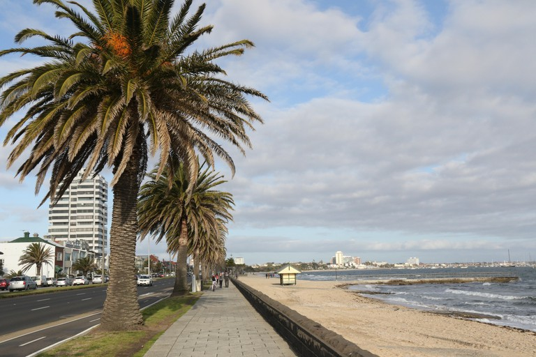 Beaconsfield Pde, the Bayside Trail and Middle Park Beach in Melbourne, Victoria, Australia.