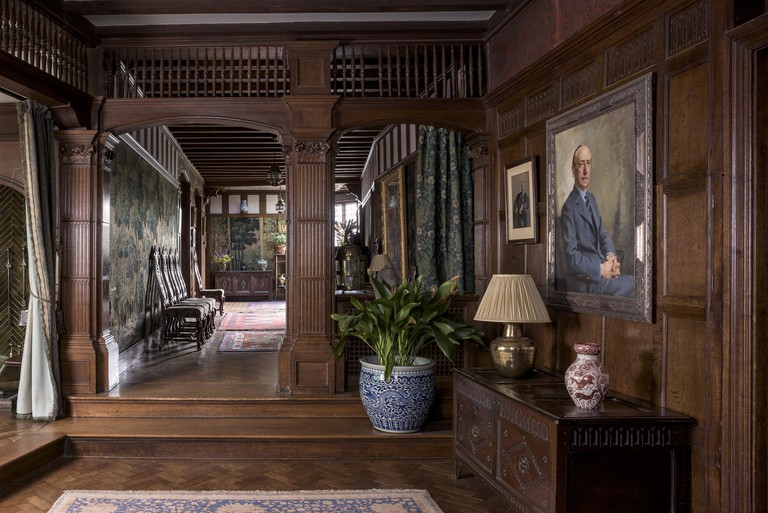 An interior view of Wightwick Manor and Gardens, West Midlands. Wightwick Manor was begun in 1887 in the 'Old English' style, and has a superb collection of William Morris fabrics and Pre-Raphaelite paintings.