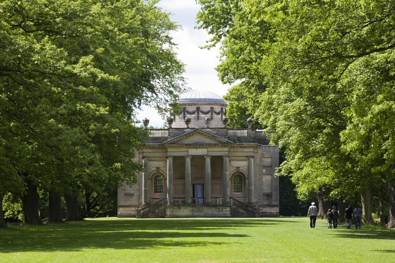 View from the Long Walk to the Palladian Chapel, begun in 1760 to the design of James Paine, at Gibside, Newcastle upon Tyne. George Bowes inherited the estate in 1722 and landscaped the grounds around Gibside Hall.