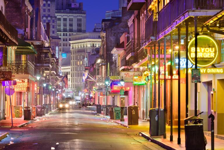 Bourbon Street, New Orleans, Louisiana, USA at night.