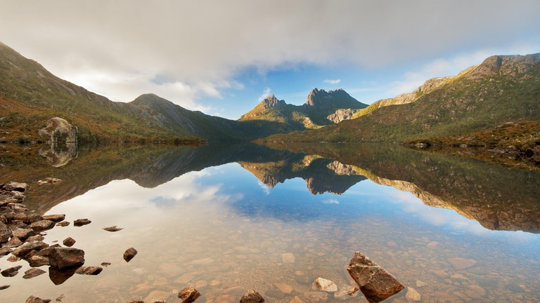 Cradle Mountain reflections in Dove Lake.