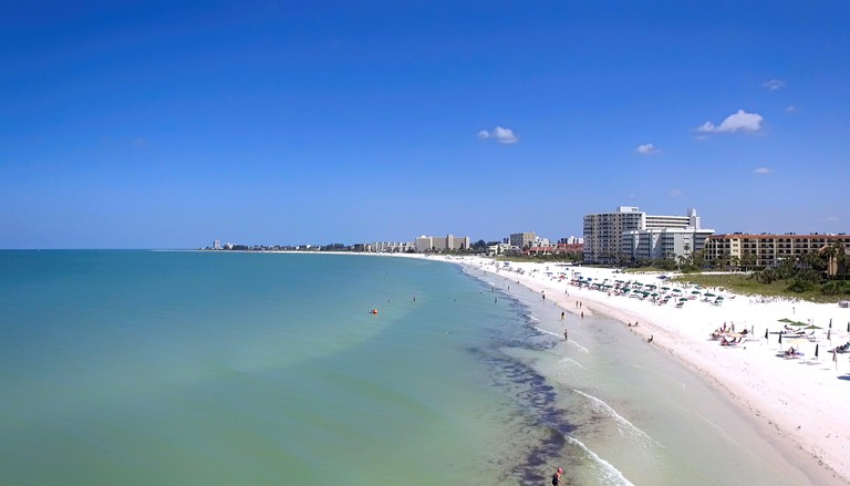 Aerial view of Siesta Key beach in Sarasota, FL