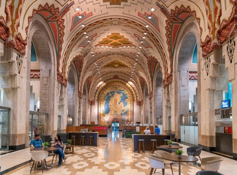 Detroit Art Deco architecture. The Banking Hall of the Guardian Building in downtown Detroit, Michigan, USA