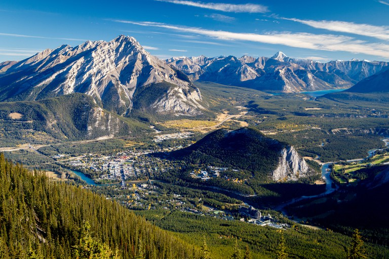 View from Sulphur Mountain down to Banff town, Tunnel Mountain and Cascade Mountain, Alberta, Canada.