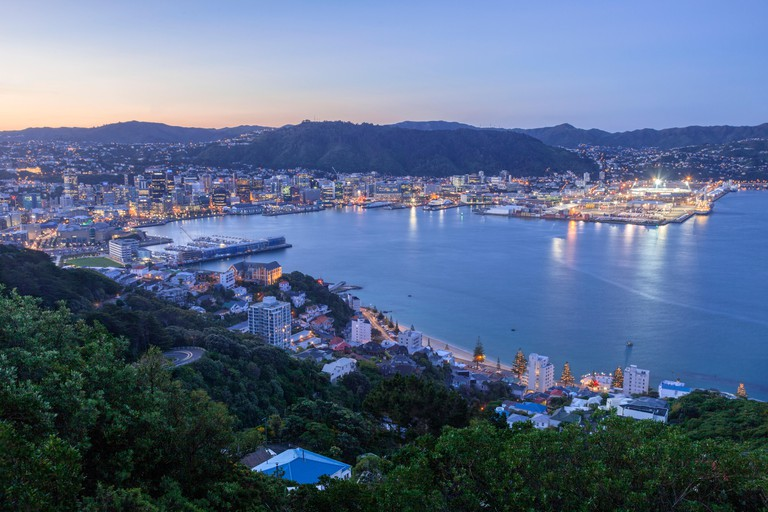 Wellington, New Zealand, from Mount Victoria, at twilight.