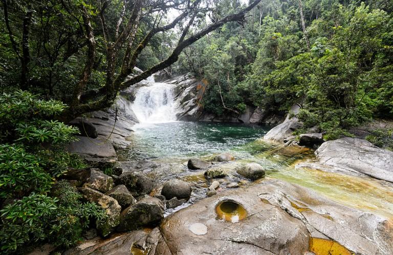 Josephine Falls is a popular swimming spot with beautiful waterfalls in Wooroonooran National Park, near Cairns, Far North Queensland, QLD, Australia