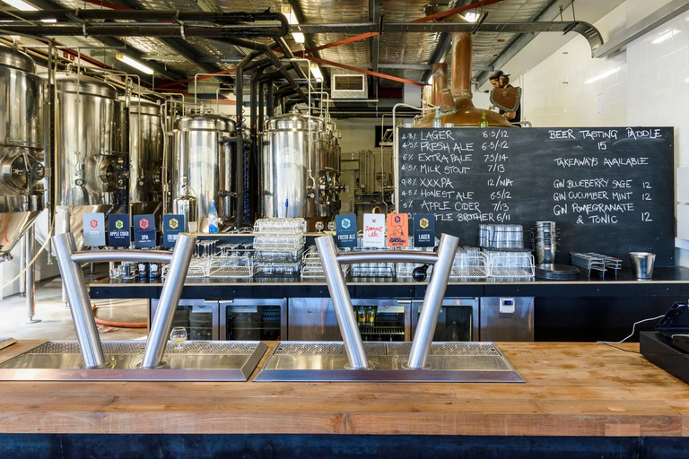 Beer taps and brewery at the Black Brewing Co. including Taj Burrow?s new beer on tap, Honest Ale, Wilyabrup, Margaret River, Western Australia