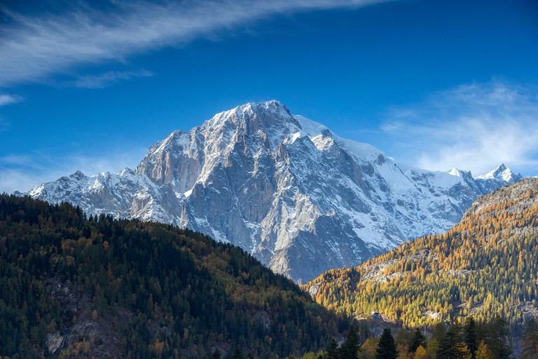 Monte Bianco at sunset, Aosta Valley, Italy, Europe