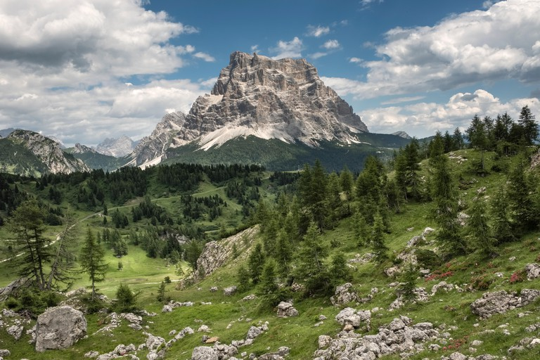 The Dolomites, Northern Italy. The huge bulk of the Pelmo (3168m), seen from the Alta Via 1 long distance trail