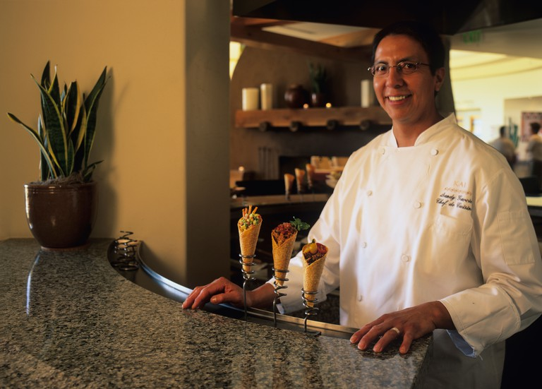 USA Arizona Phoenix Portrait of Chef de Cuisine Sandy Garcia at Kai Restaurant at Sheraton Wild Horse Resort