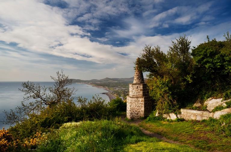 The small obelisk on Killiney Hill, overlooking Killiney Bay, Dublin, Ireland