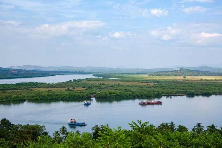 A bird?s eye view of the Mandovi River and the Divar and Chorao islands in it as seen from the Kadamba plateau.