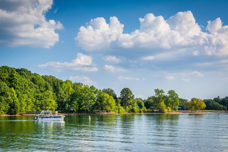 Boat in Lake Norman, seen from Jetton Park, in Cornelius, North Carolina.