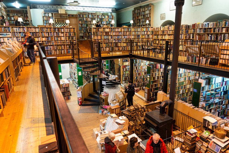Inside Leakey's Bookshop, featuring an enormous collection of second-hand books, sprawling over two floors in Inverness, Scotland