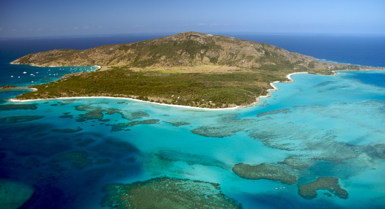 Aerial view of Lizard Island on the great barrier reef Australia
