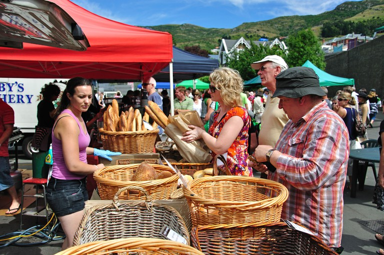 Lyttelton Farmers Market, Oxford Street, Lyttelton, Lyttelton Harbour, Banks Peninsula, Canterbury, South Island, New Zealand. Image shot 2010. Exact date unknown.