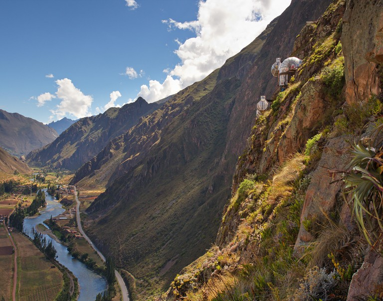 View looking up the Sacred Valley from the top of the Via Ferrata climing route.  SkyLodge buildings are in view as well
