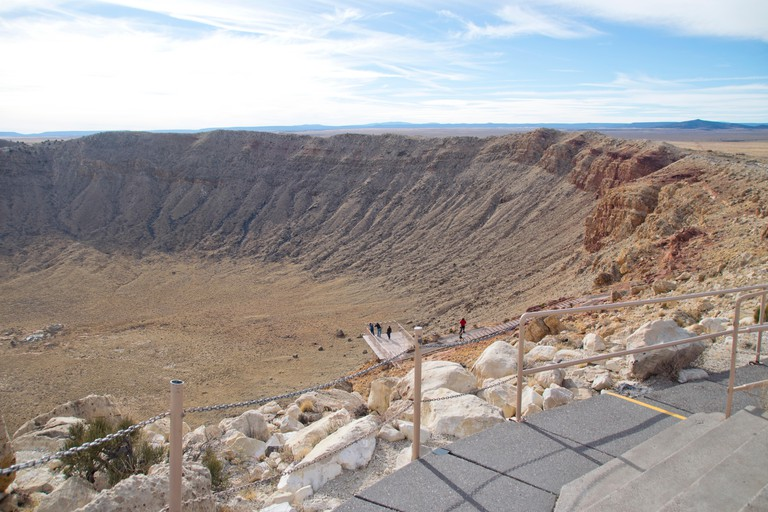 Aerial view of Meteor Crater in Winslow, AZ.