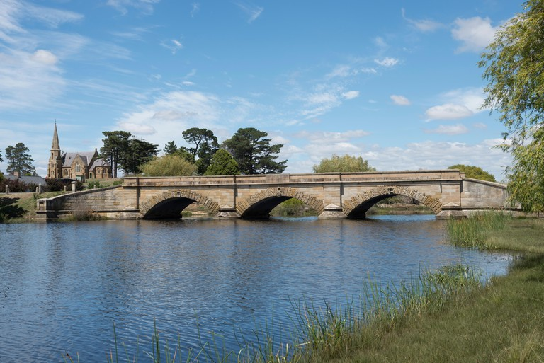 Ross Bridge on the Macquarie River in the Town of Ross, Tasmania. Built using convict labour, it is the 3rd oldest bridge still in use in Australia.
