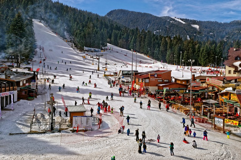 Beginners drag lift and nursery slopes at Borovets Ski resort, Targovishte, Bulgaria.