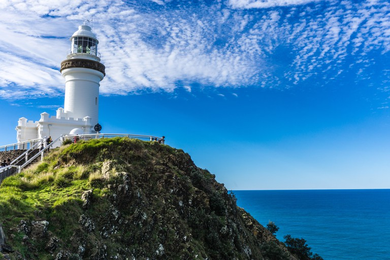 Lighthouse in Byron Bay with Blue Skies, New South Wales, Australia