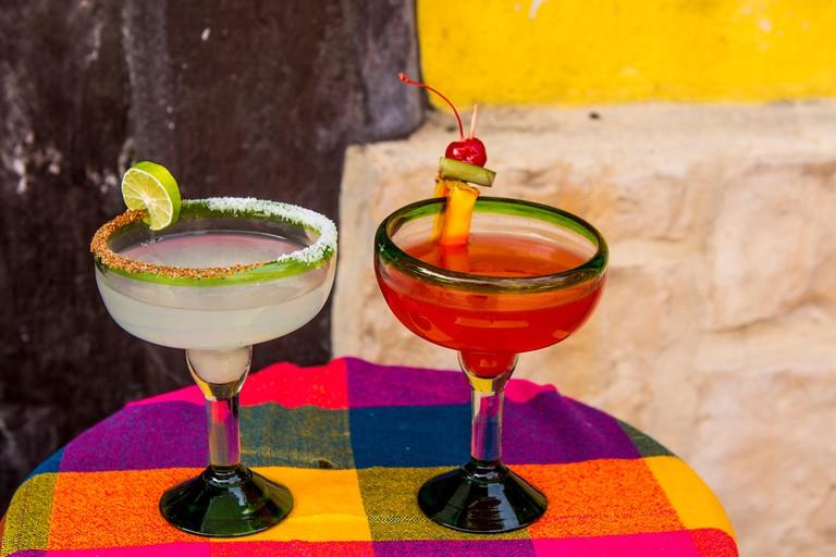Local margaritas tequila drinks on table Tlaquepaque, near Guadalajara, Jalisco, Mexico.