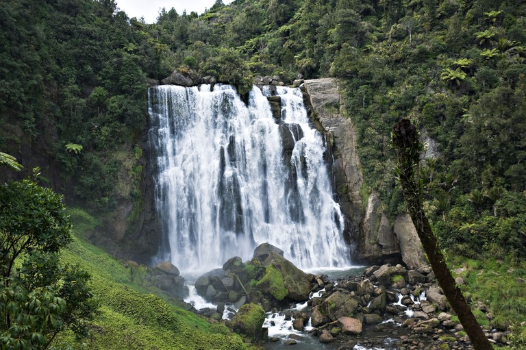 The Beautiful Marokopa Falls in the Tawarau Forest near Te Anga Waitomo Waikato North Island New Zealand NZ